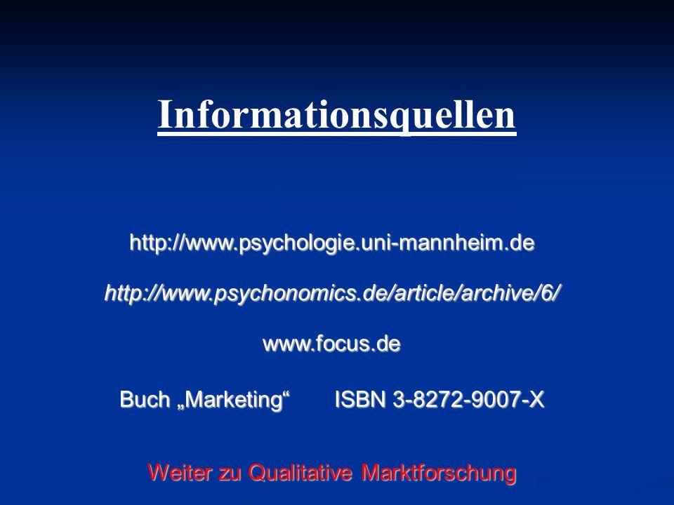 Informationsquellen http://www.psychologie.uni-mannheim.de http://www.psychonomics.de/article/archive/6/ www.focus.de Buch Marketing ISBN 3-8272-9007-