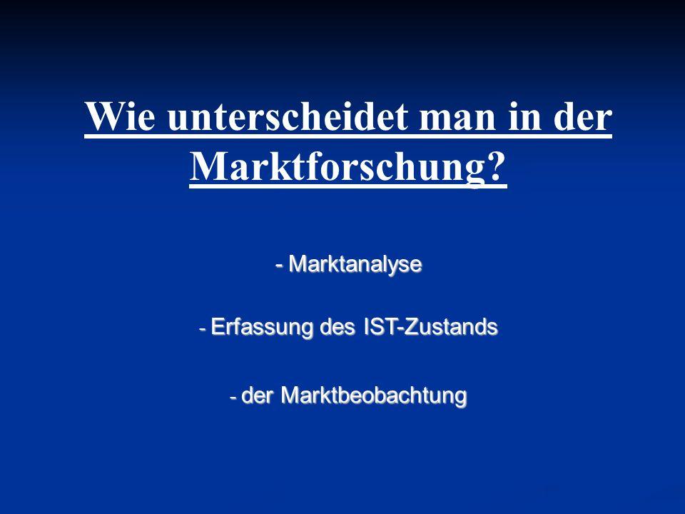 Wie unterscheidet man in der Marktforschung? - Marktanalyse - Erfassung des IST-Zustands - der Marktbeobachtung