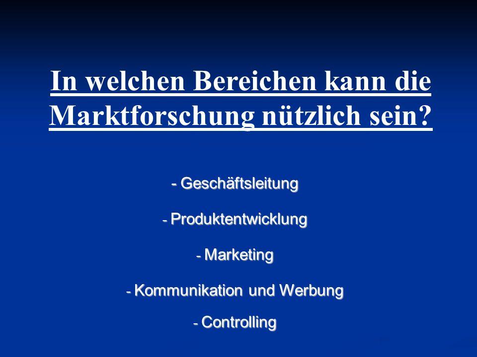 In welchen Bereichen kann die Marktforschung nützlich sein? - Geschäftsleitung - Produktentwicklung - Marketing - Kommunikation und Werbung - Controll