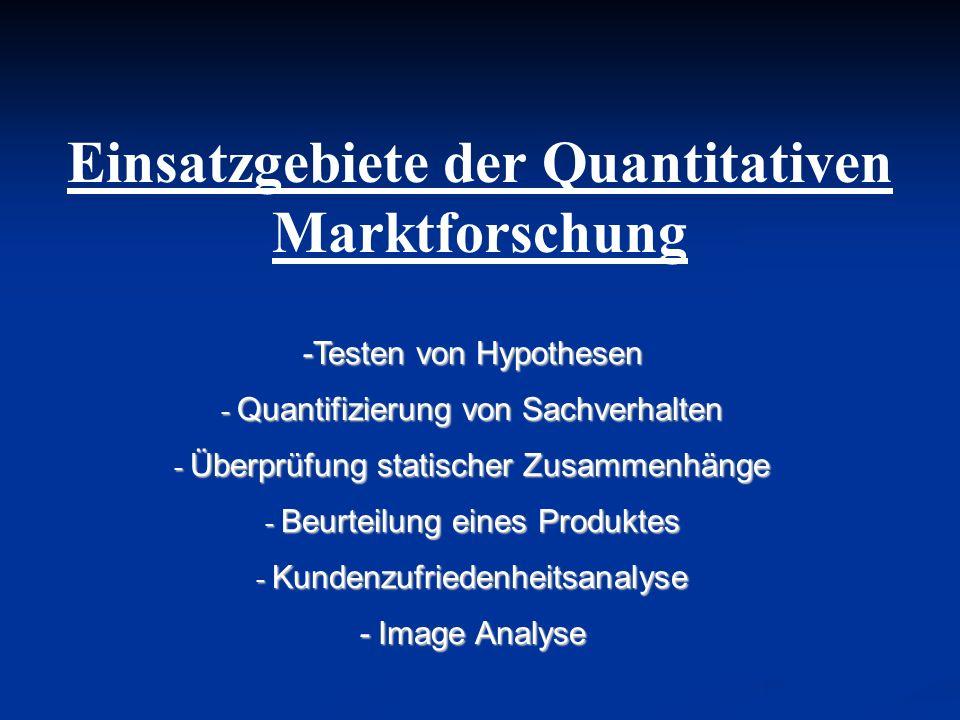 Einsatzgebiete der Quantitativen Marktforschung -Testen von Hypothesen - Quantifizierung von Sachverhalten - Überprüfung statischer Zusammenhänge - Be