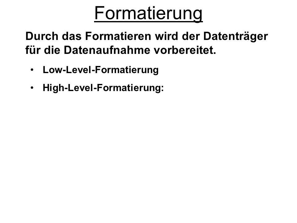 Diskettenformatierung Das Diskettendateisystem ist FAT12, bei vollständiger Diskettenformatierung wird sowohl LOW als auch HIGH formatiert, es wird immer ein Bootsektor angelegt ob Boot- oder reine Datendiskette.