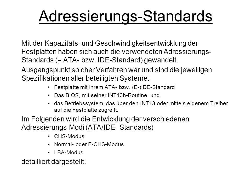 CHS-(/Normal-) Modus Cylinder Head Sektor Das CHS-Verfahren (ATA/IDE) ist das älteste Verfahren und wurde bis Mitte der 90er Jahre verwendet.