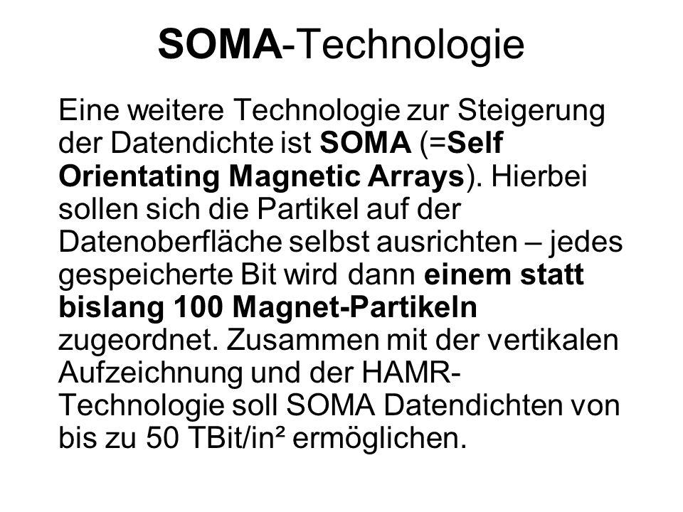 Überblick zukünftige Festplattenentwicklung TechnologieDatendichte max.Marktreife Einzelplatten- kapazität derzeitige Technik50 GBit/in²2003120 GByte nahe Zukunft100 GBit/in²2004 - 2006200 - 400 GByte PRT1 TBit/in²2007 ?3 TByte .