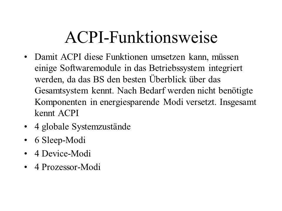 ACPI-Funktionsweise Damit ACPI diese Funktionen umsetzen kann, müssen einige Softwaremodule in das Betriebssystem integriert werden, da das BS den bes