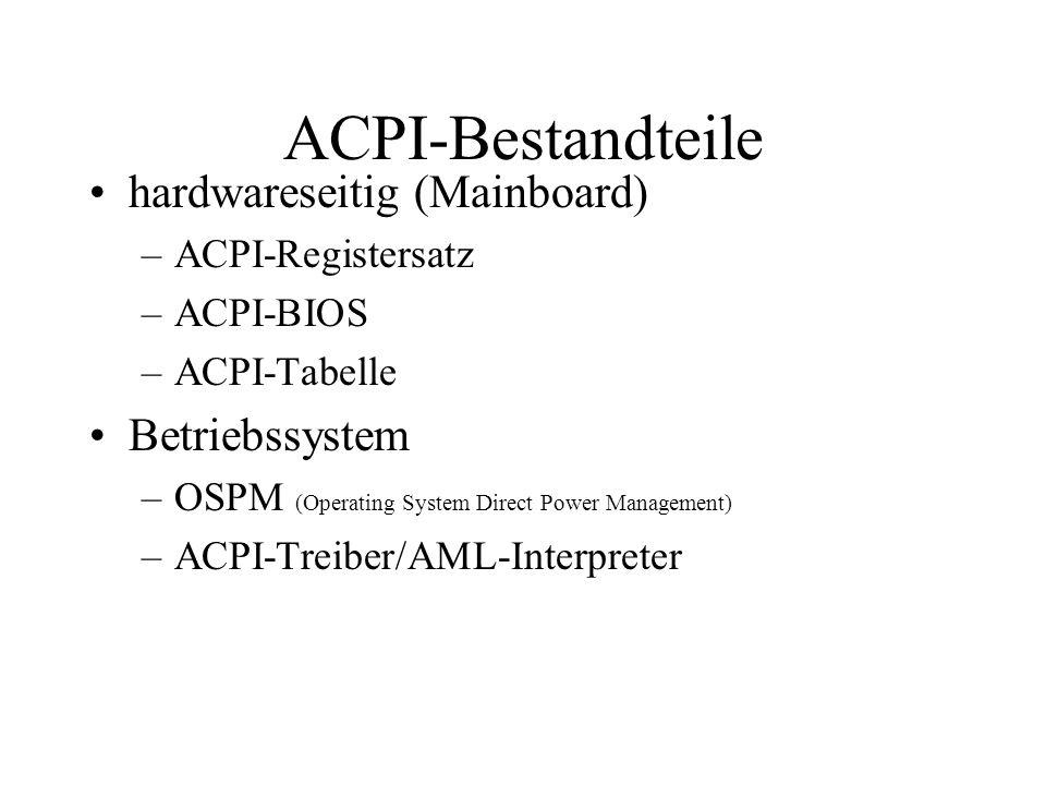 ACPI-Bestandteile hardwareseitig (Mainboard) –ACPI-Registersatz –ACPI-BIOS –ACPI-Tabelle Betriebssystem –OSPM (Operating System Direct Power Managemen