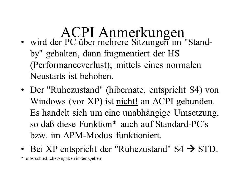 ACPI Anmerkungen wird der PC über mehrere Sitzungen im