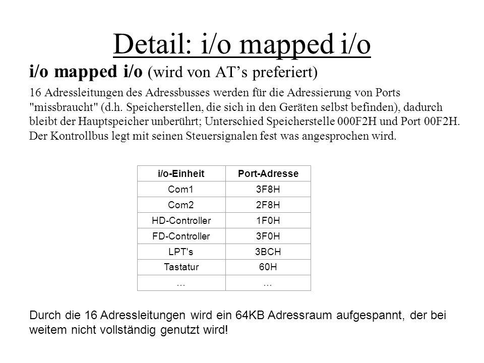 Detail: i/o mapped i/o i/o mapped i/o (wird von ATs preferiert) 16 Adressleitungen des Adressbusses werden für die Adressierung von Ports
