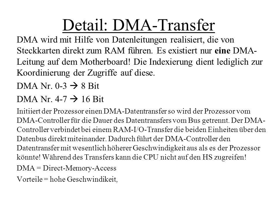 Detail: DMA-Transfer DMA wird mit Hilfe von Datenleitungen realisiert, die von Steckkarten direkt zum RAM führen. Es existiert nur eine DMA- Leitung a