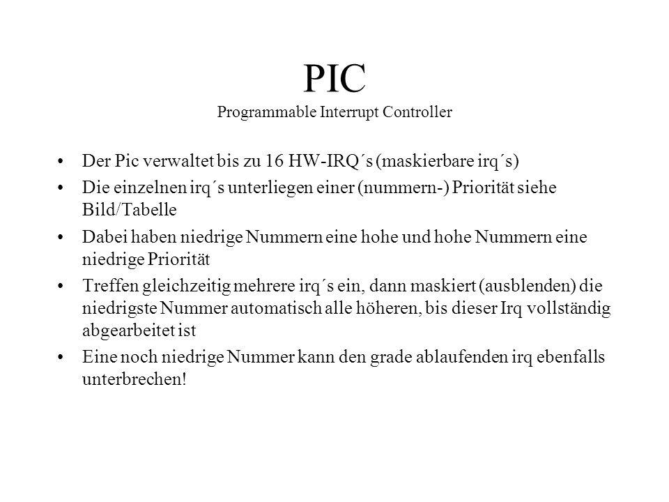 PIC Programmable Interrupt Controller Der Pic verwaltet bis zu 16 HW-IRQ´s (maskierbare irq´s) Die einzelnen irq´s unterliegen einer (nummern-) Priori
