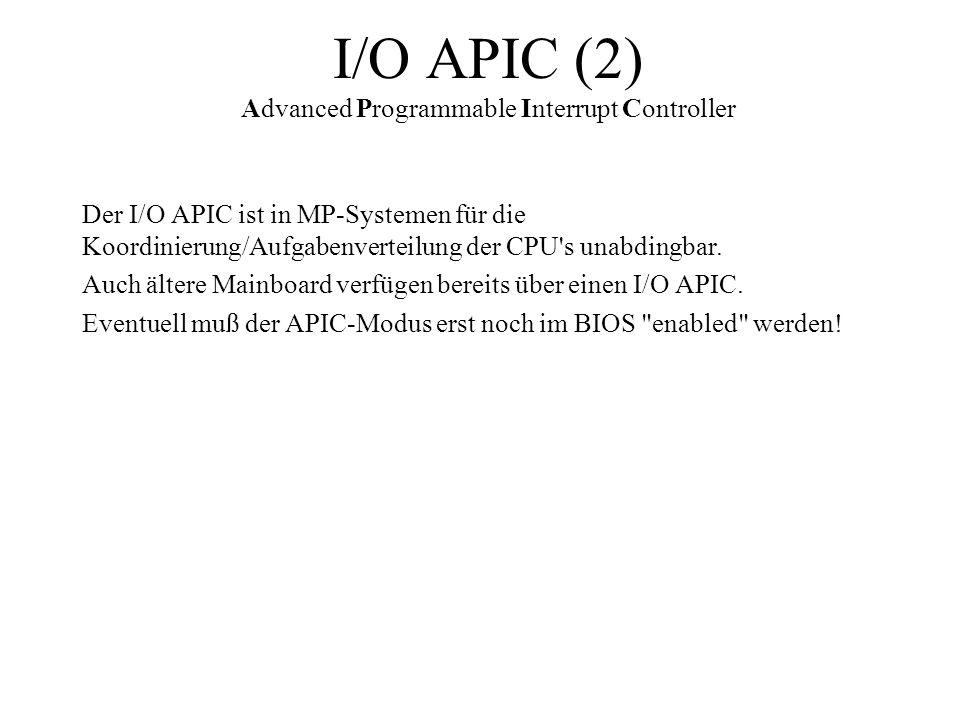 I/O APIC (2) Advanced Programmable Interrupt Controller Der I/O APIC ist in MP-Systemen für die Koordinierung/Aufgabenverteilung der CPU's unabdingbar