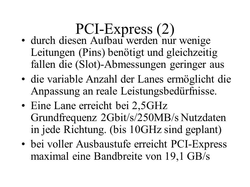 PCI-Express (2) durch diesen Aufbau werden nur wenige Leitungen (Pins) benötigt und gleichzeitig fallen die (Slot)-Abmessungen geringer aus die variab