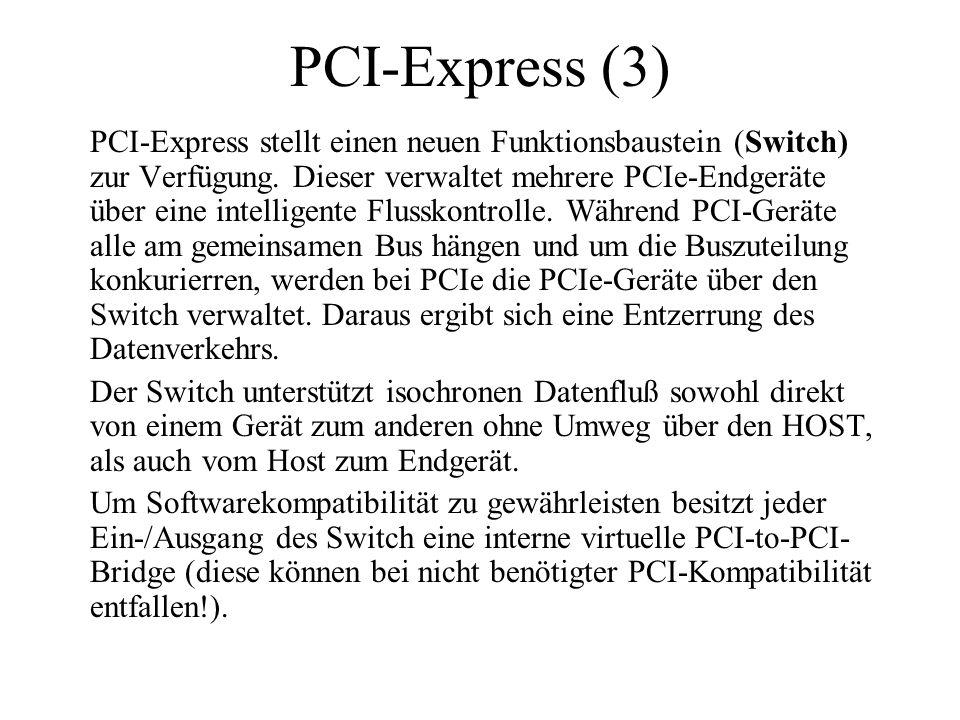 PCI-Express (3) PCI-Express stellt einen neuen Funktionsbaustein (Switch) zur Verfügung. Dieser verwaltet mehrere PCIe-Endgeräte über eine intelligent