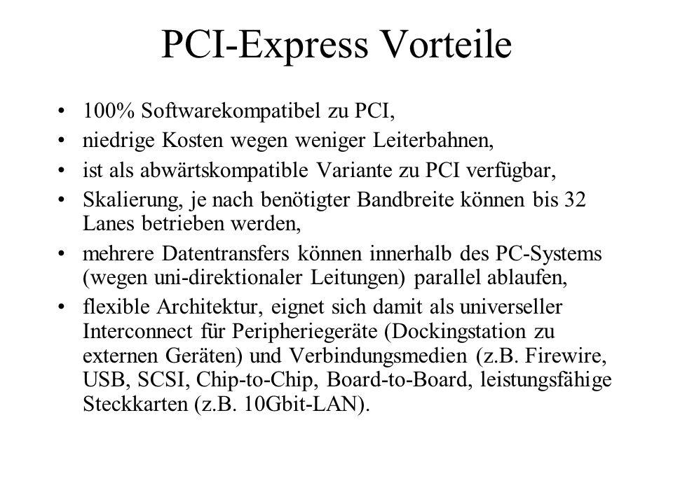 PCI-Express Vorteile 100% Softwarekompatibel zu PCI, niedrige Kosten wegen weniger Leiterbahnen, ist als abwärtskompatible Variante zu PCI verfügbar,