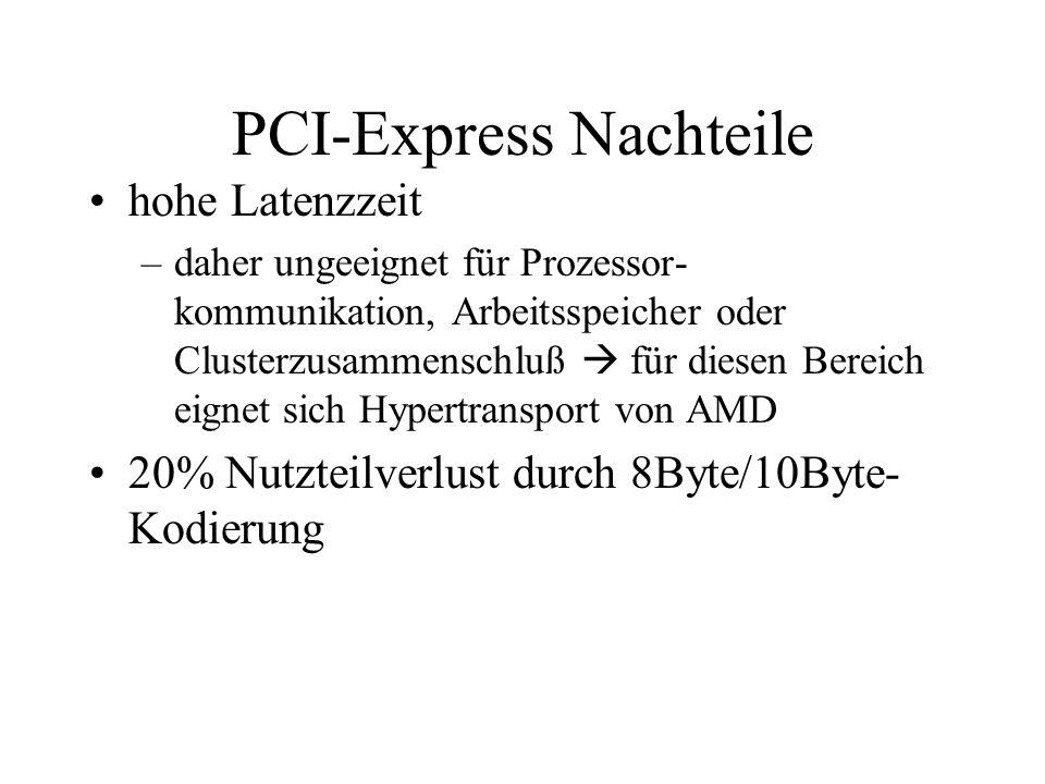 PCI-Express Nachteile hohe Latenzzeit –daher ungeeignet für Prozessor- kommunikation, Arbeitsspeicher oder Clusterzusammenschluß für diesen Bereich ei