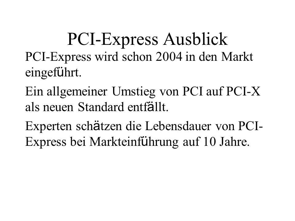 PCI-Express Ausblick PCI-Express wird schon 2004 in den Markt eingef ü hrt. Ein allgemeiner Umstieg von PCI auf PCI-X als neuen Standard entf ä llt. E