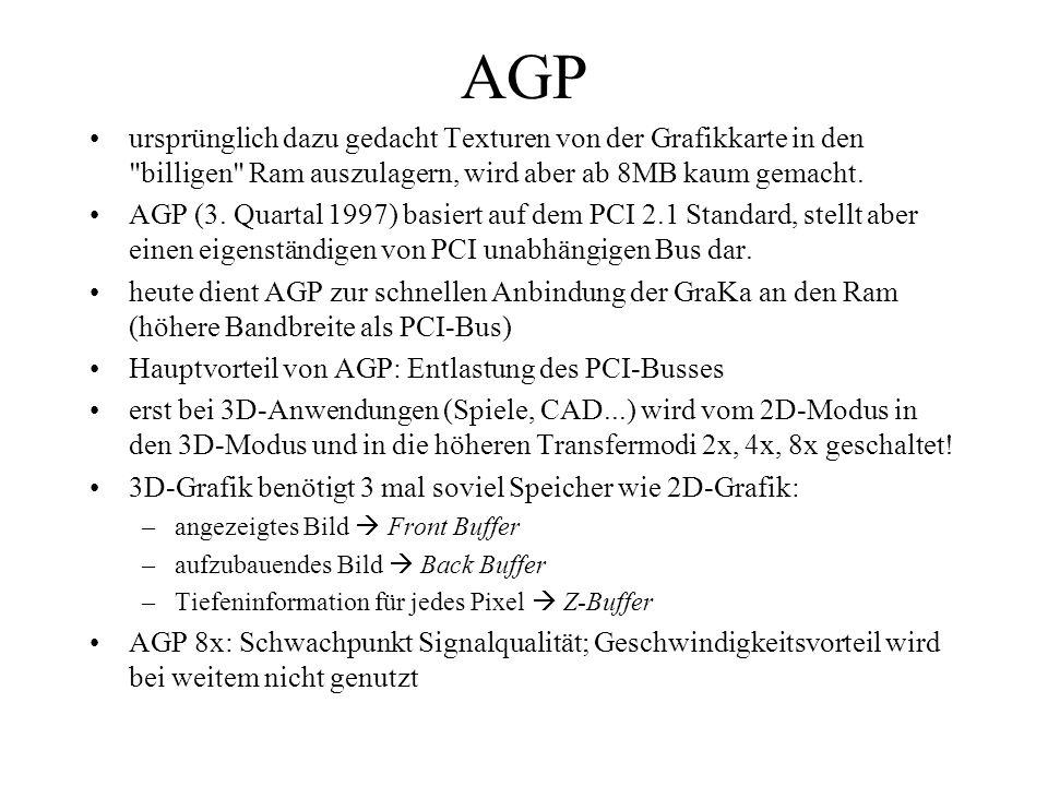 AGP ursprünglich dazu gedacht Texturen von der Grafikkarte in den