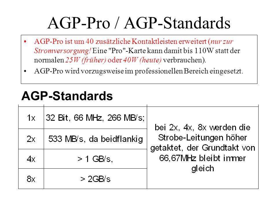 AGP-Pro / AGP-Standards AGP-Pro ist um 40 zusätzliche Kontaktleisten erweitert (nur zur Stromversorgung! Eine
