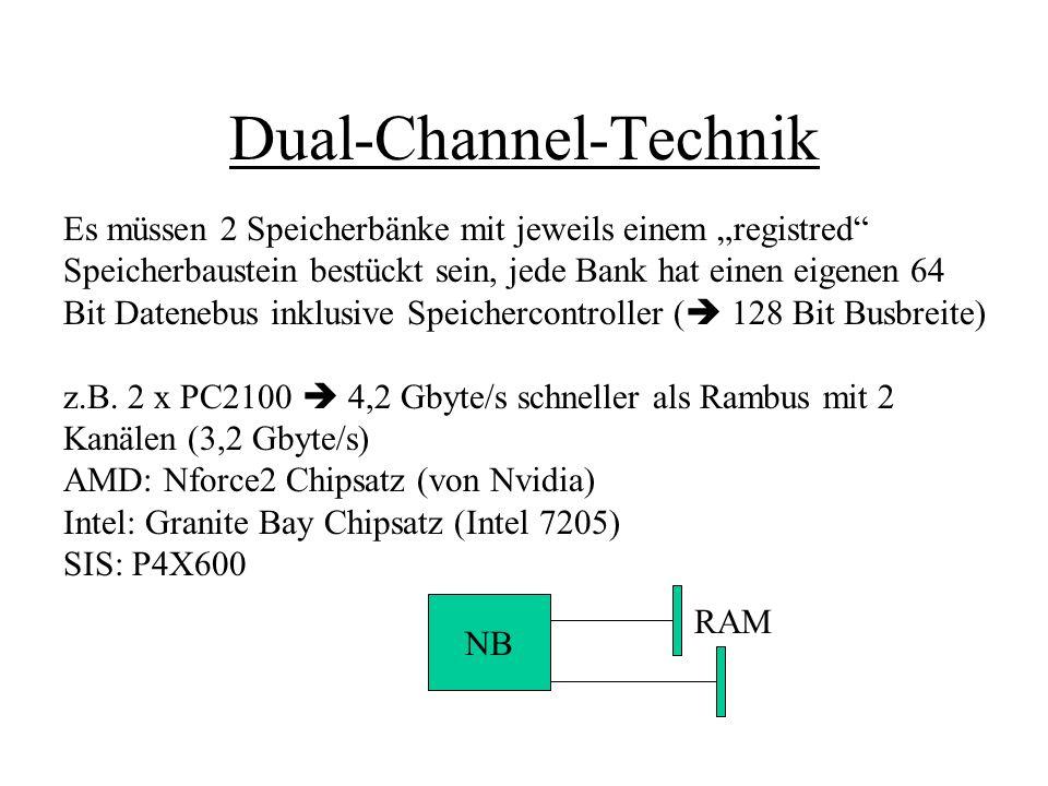 Dual-Channel-Technik Es müssen 2 Speicherbänke mit jeweils einem registred Speicherbaustein bestückt sein, jede Bank hat einen eigenen 64 Bit Datenebu