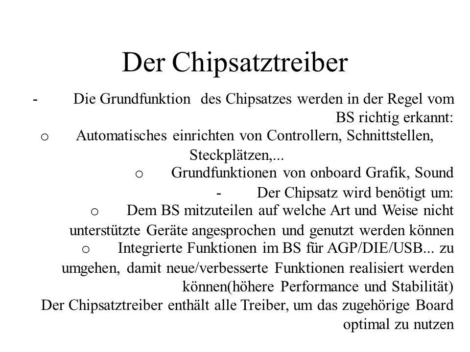 Der Chipsatztreiber - Die Grundfunktion des Chipsatzes werden in der Regel vom BS richtig erkannt: o Automatisches einrichten von Controllern, Schnitt