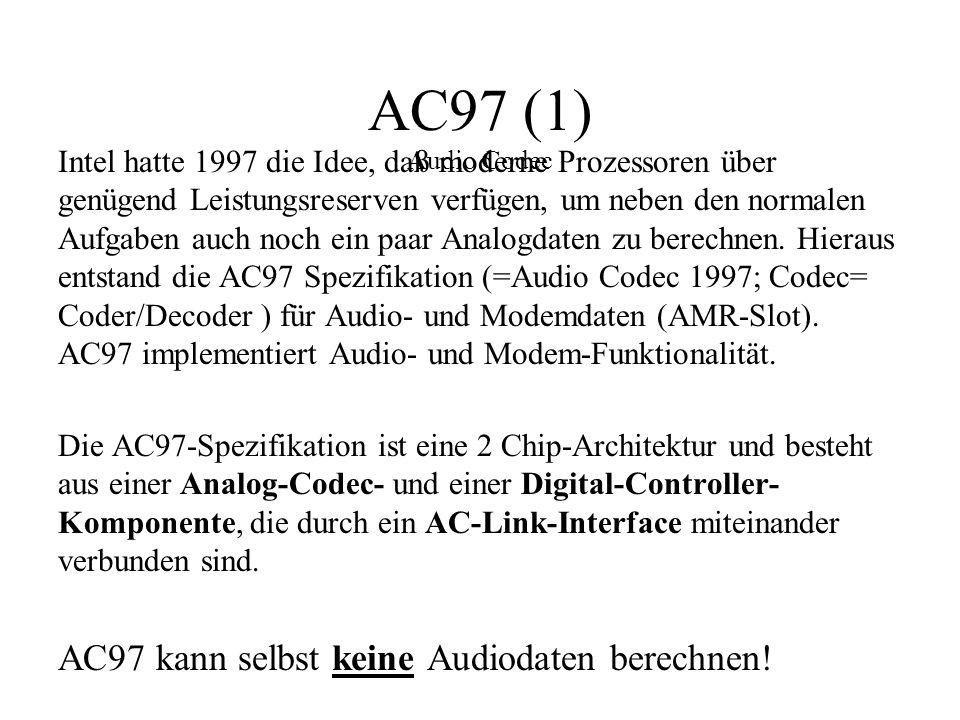 AC97 (1) Audio Codec Intel hatte 1997 die Idee, daß moderne Prozessoren über genügend Leistungsreserven verfügen, um neben den normalen Aufgaben auch