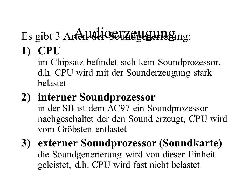Audioerzeugung Es gibt 3 Arten der Soundgenerierung: 1)CPU im Chipsatz befindet sich kein Soundprozessor, d.h. CPU wird mit der Sounderzeugung stark b