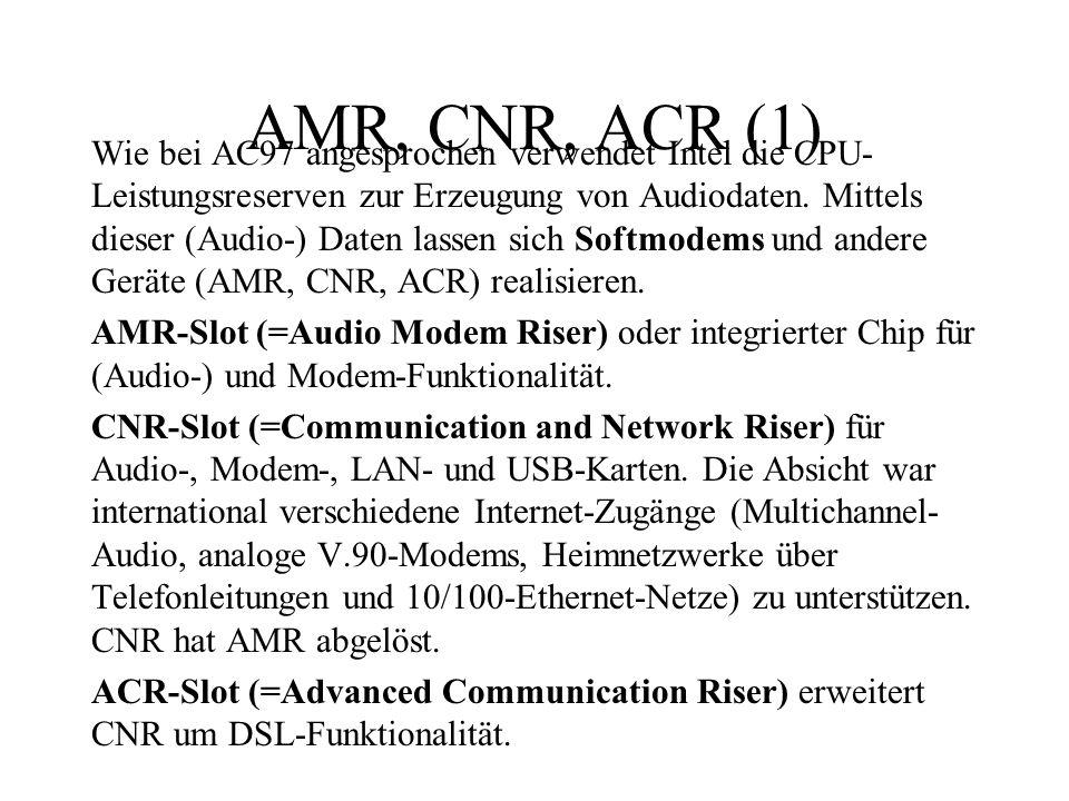 AMR, CNR, ACR (1) Wie bei AC97 angesprochen verwendet Intel die CPU- Leistungsreserven zur Erzeugung von Audiodaten. Mittels dieser (Audio-) Daten las