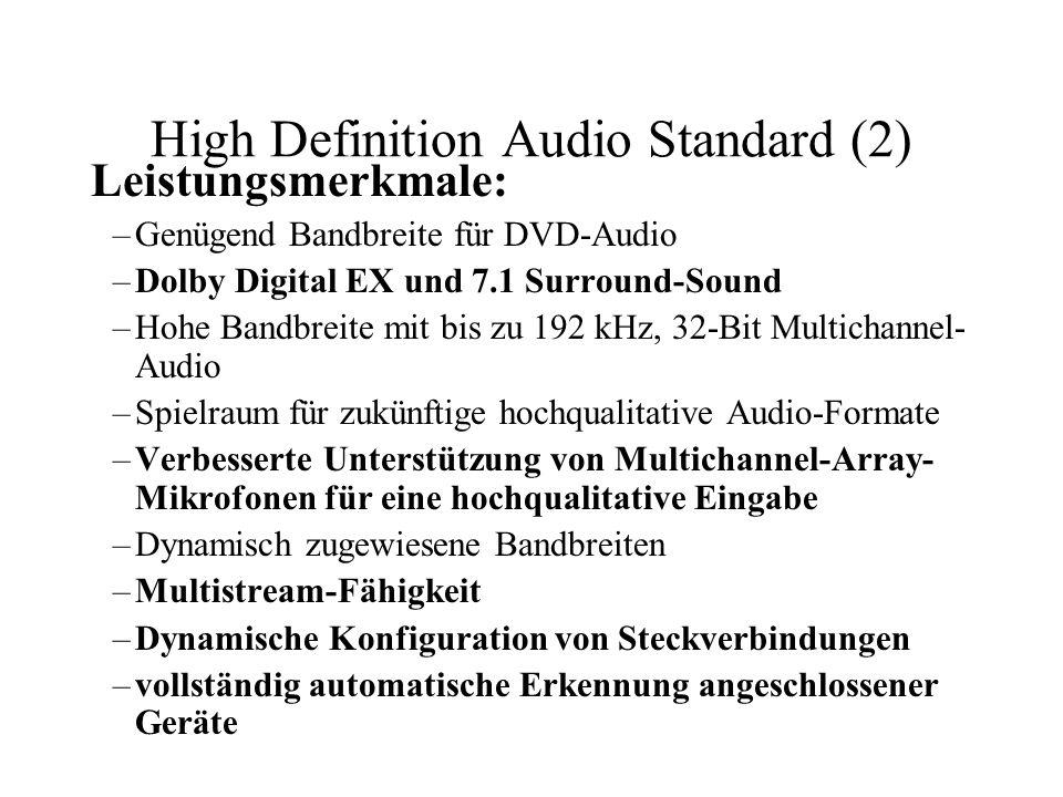 High Definition Audio Standard (2) Leistungsmerkmale: –Genügend Bandbreite für DVD-Audio –Dolby Digital EX und 7.1 Surround-Sound –Hohe Bandbreite mit