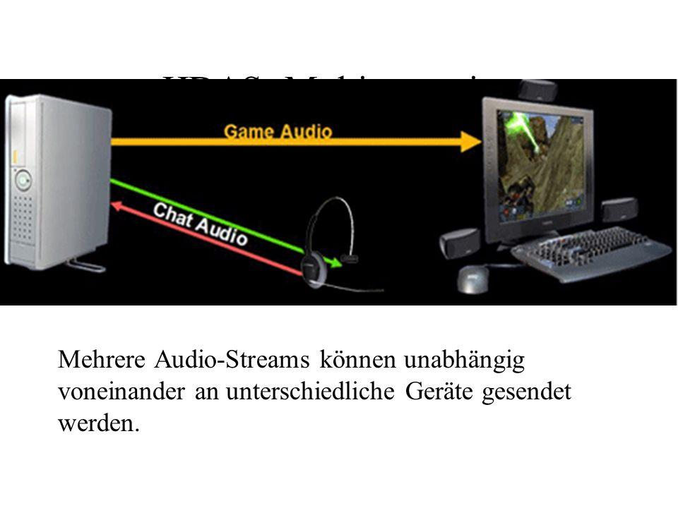 HDAS: Multistreaming Mehrere Audio-Streams können unabhängig voneinander an unterschiedliche Geräte gesendet werden.
