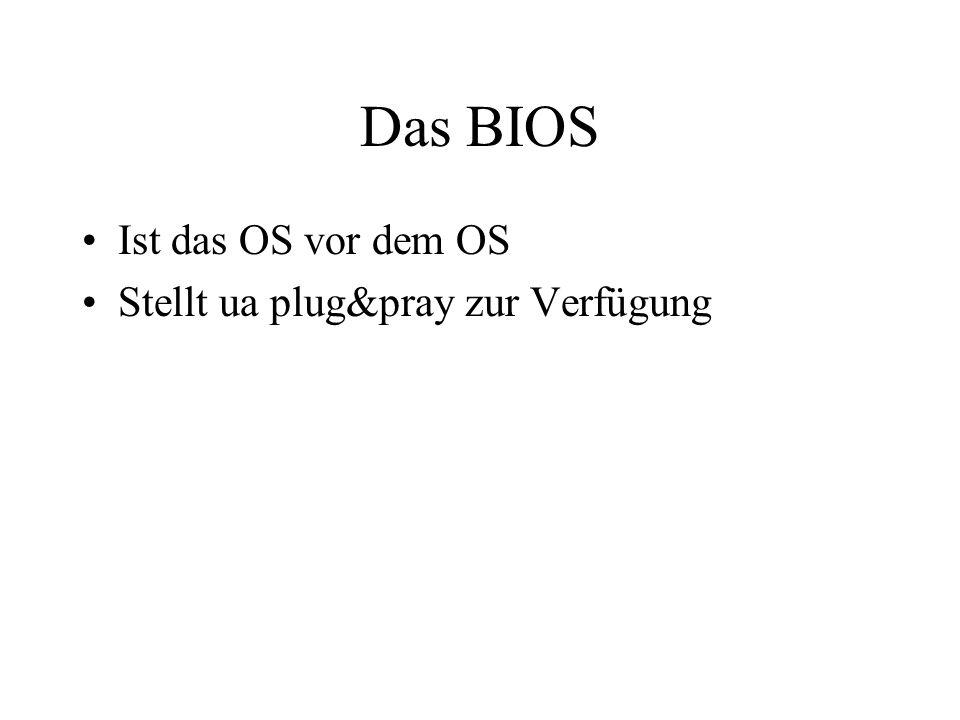 Das BIOS Ist das OS vor dem OS Stellt ua plug&pray zur Verfügung
