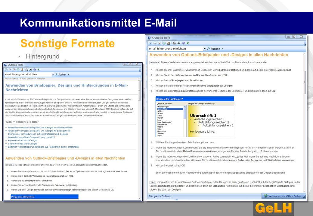 Sonstige Formate - Hintergrund Kommunikationsmittel E-Mail
