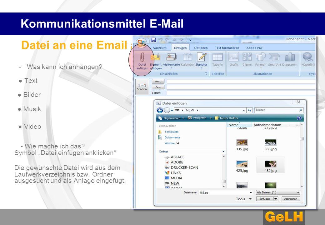 Datei an eine Email anhängen - Was kann ich anhängen.