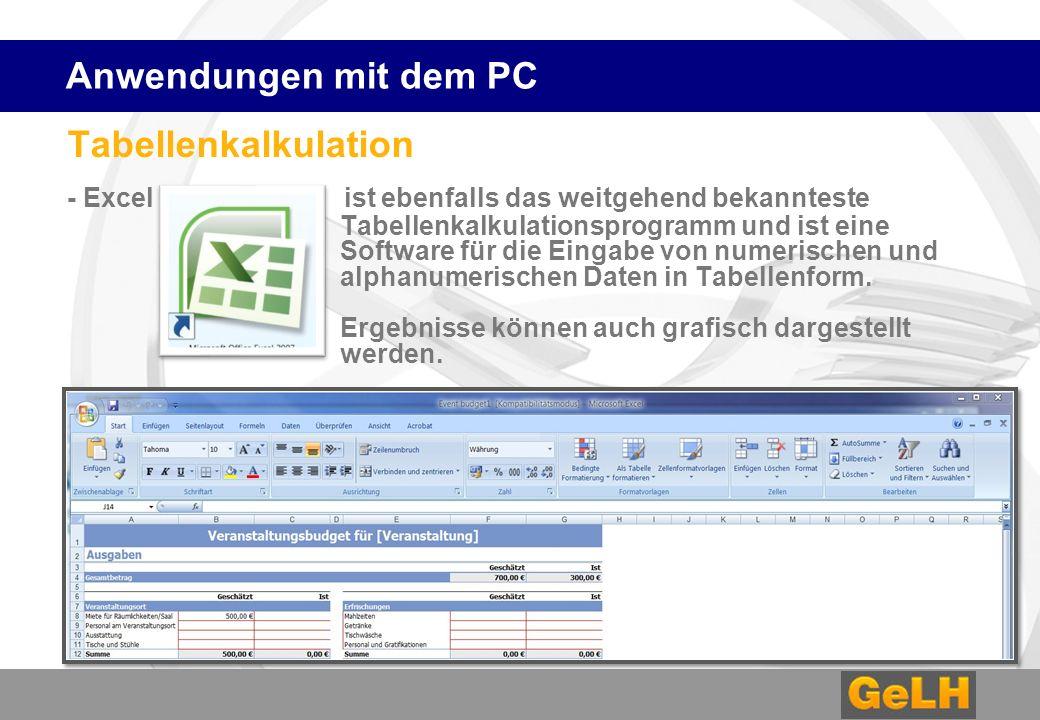 Tabellenkalkulation - Excel ist ebenfalls das weitgehend bekannteste Tabellenkalkulationsprogramm und ist eine Software für die Eingabe von numerischen und alphanumerischen Daten in Tabellenform.