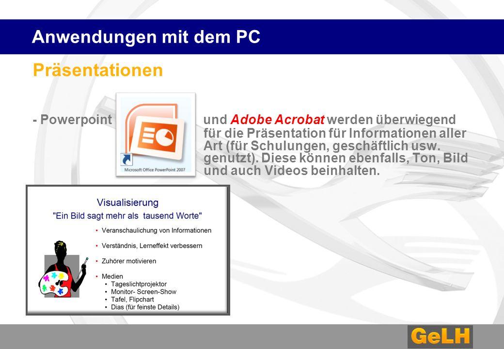 Präsentationen - Powerpoint und Adobe Acrobat werden überwiegend für die Präsentation für Informationen aller Art (für Schulungen, geschäftlich usw.