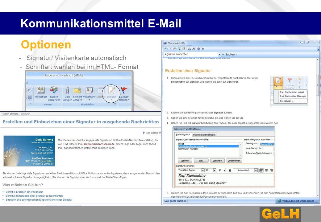 Optionen - Signatur/ Visitenkarte automatisch - Schriftart wählen bei im HTML- Format Kommunikationsmittel E-Mail
