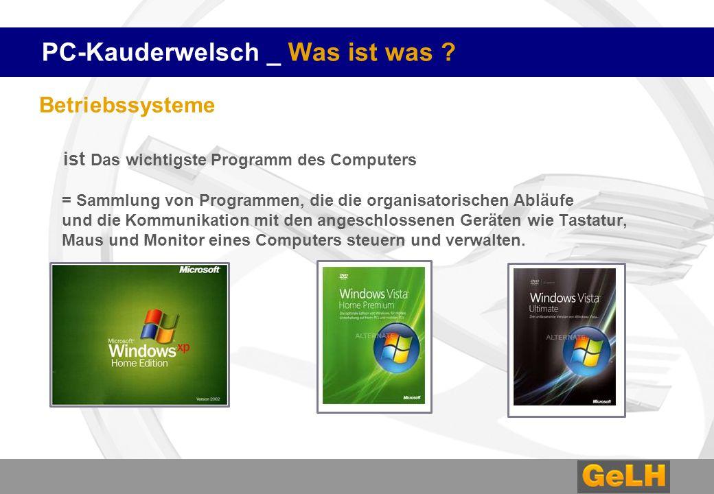 PC-Kauderwelsch _ Was ist was ? Betriebssysteme ist Das wichtigste Programm des Computers = Sammlung von Programmen, die die organisatorischen Abläufe