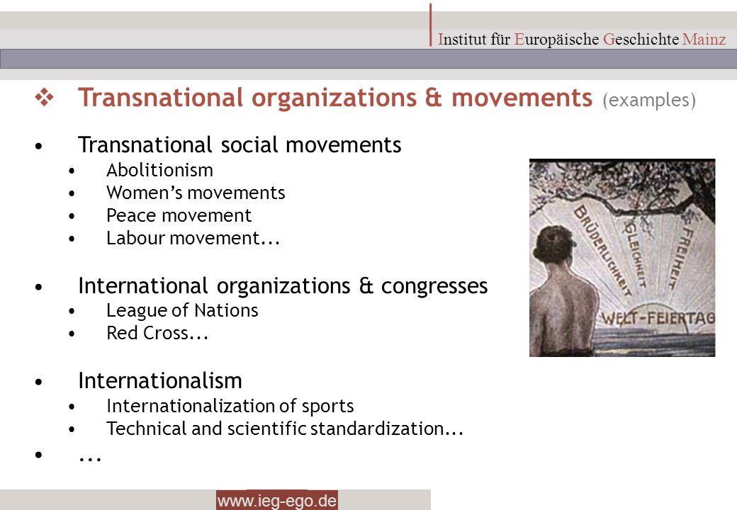 www.ieg-ego.de Institut für Europäische Geschichte Mainz Transnational organizations & movements (examples) Transnational social movements Abolitionis