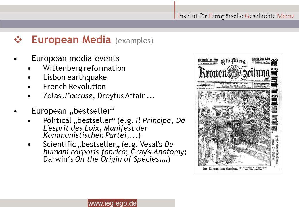www.ieg-ego.de Institut für Europäische Geschichte Mainz European Media (examples) European media events Wittenberg reformation Lisbon earthquake Fren