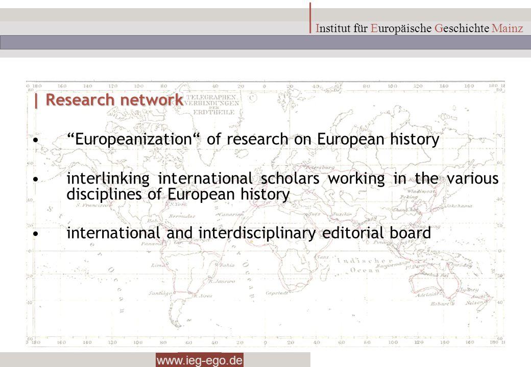 www.ieg-ego.de Institut für Europäische Geschichte Mainz | Research network Europeanization of research on European history interlinking international
