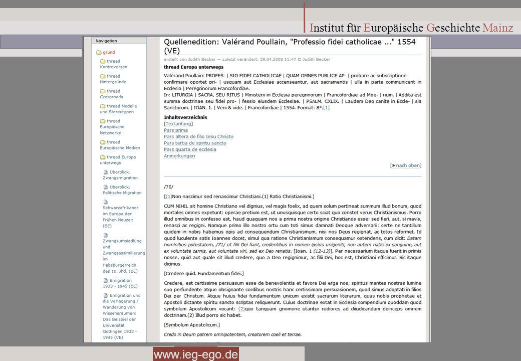 www.ieg-ego.de Institut für Europäische Geschichte Mainz