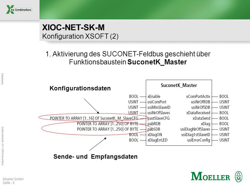 Dateiname Schutzvermerk ISO 16016 beachten Moeller GmbH Seite - 6 1. Aktivierung des SUCONET-Feldbus geschieht über Funktionsbaustein SuconetK_Master