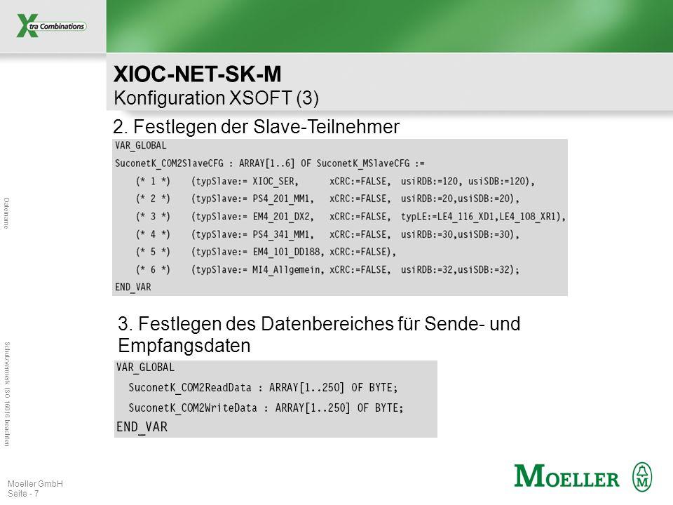 Dateiname Schutzvermerk ISO 16016 beachten Moeller GmbH Seite - 7 2. Festlegen der Slave-Teilnehmer 3. Festlegen des Datenbereiches für Sende- und Emp