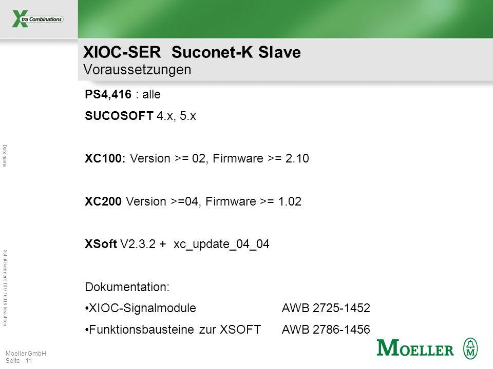 Dateiname Schutzvermerk ISO 16016 beachten Moeller GmbH Seite - 11 PS4,416 : alle SUCOSOFT 4.x, 5.x XC100: Version >= 02, Firmware >= 2.10 XC200 Version >=04, Firmware >= 1.02 XSoft V2.3.2 + xc_update_04_04 Dokumentation: XIOC-Signalmodule AWB 2725-1452 Funktionsbausteine zur XSOFTAWB 2786-1456 XIOC-SER Suconet-K Slave Voraussetzungen