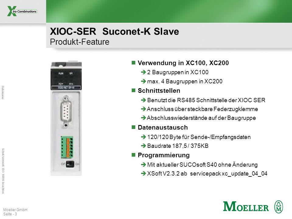 Dateiname Schutzvermerk ISO 16016 beachten Moeller GmbH Seite - 3 XIOC-SER Suconet-K Slave Produkt-Feature Verwendung in XC100, XC200 2 Baugruppen in XC100 max.