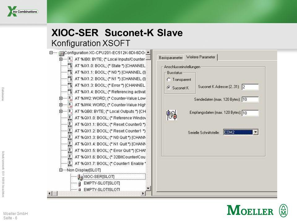Dateiname Schutzvermerk ISO 16016 beachten Moeller GmbH Seite - 6 XIOC-SER Suconet-K Slave Konfiguration XSOFT