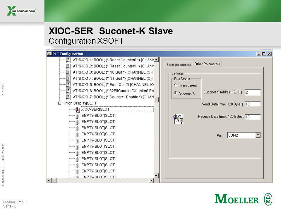 Dateiname Schutzvermerk ISO 16016 beachten Moeller GmbH Seite - 6 XIOC-SER Suconet-K Slave Configuration XSOFT