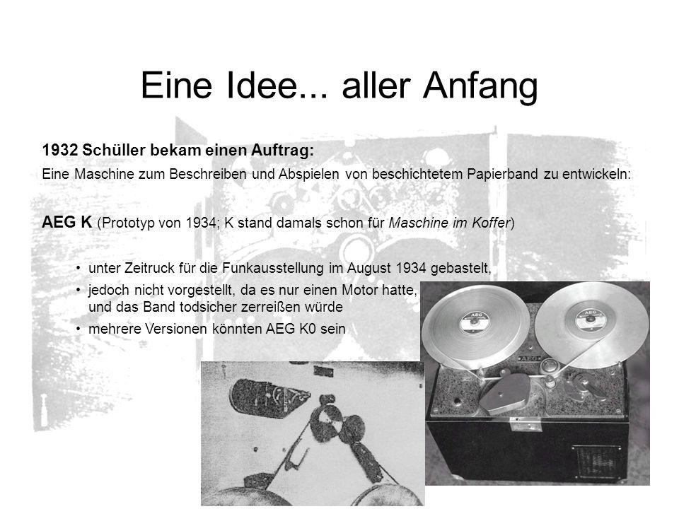Eine Idee... aller Anfang 1932 Schüller bekam einen Auftrag: Eine Maschine zum Beschreiben und Abspielen von beschichtetem Papierband zu entwickeln: A