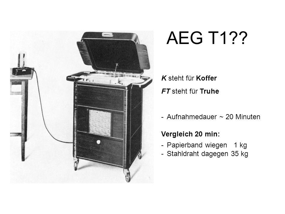 AEG T1?? K steht für Koffer FT steht für Truhe -Aufnahmedauer ~ 20 Minuten Vergleich 20 min: -Papierband wiegen 1 kg -Stahldraht dagegen 35 kg