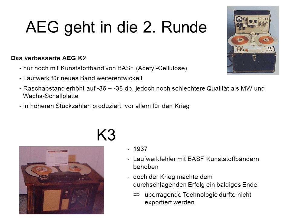 AEG geht in die 2. Runde Das verbesserte AEG K2 - nur noch mit Kunststoffband von BASF (Acetyl-Cellulose) - Laufwerk für neues Band weiterentwickelt -