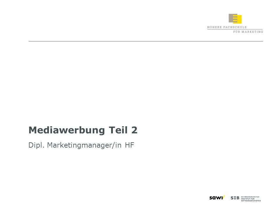2 Lernziele «Mediawerbung Teil 2» Sie sind in der Lage, die wesentlichen Schritte einer Mediaplanung widerzugeben die Medialandschaft der Schweiz zu beschreiben und zu differenzieren die wichtigsten Mediaforschungen anzugeben die Realisation und Produktion von Werbemitteln zu initiieren die Organe der Werbewirtschaft zu benennen Berufe in der Werbung zu unterscheiden