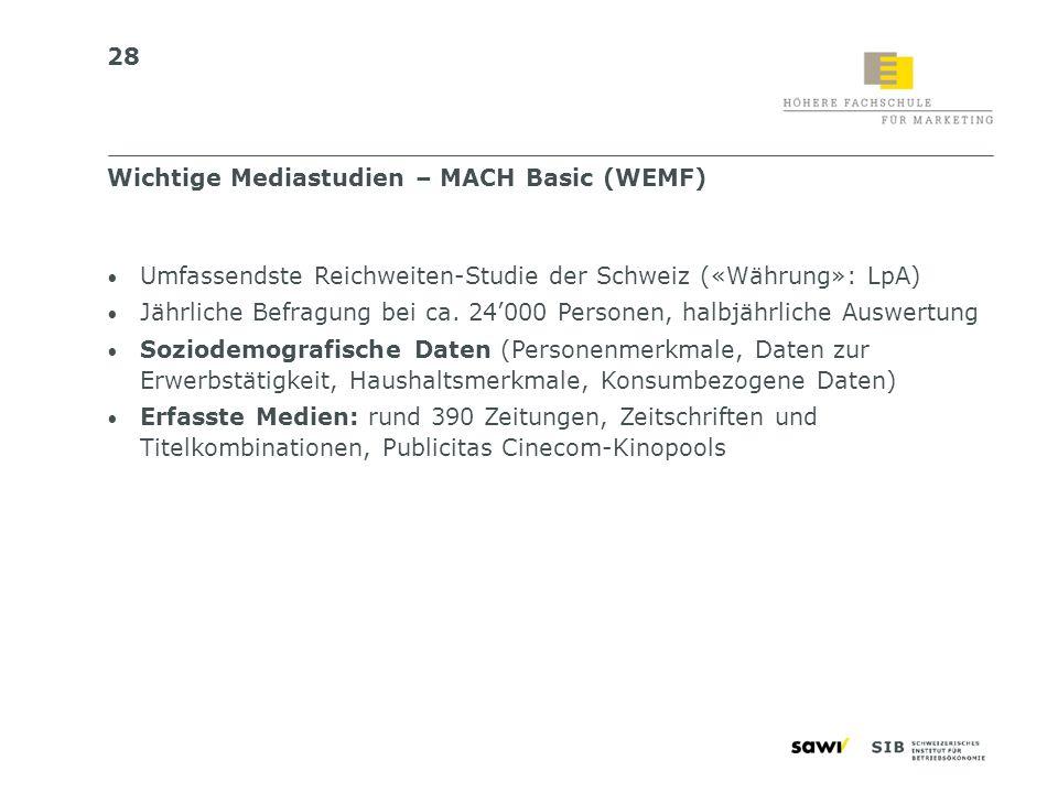 28 Umfassendste Reichweiten-Studie der Schweiz («Währung»: LpA) Jährliche Befragung bei ca. 24000 Personen, halbjährliche Auswertung Soziodemografisch